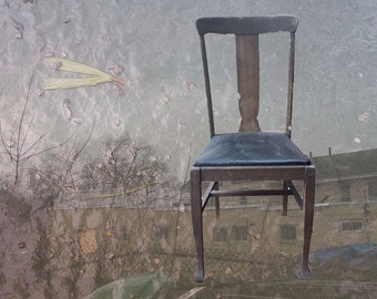 Blue Leather Chair, photo notecard