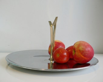 large mid century Kromex chrome tray/ vintage 1950s serving tray bowl
