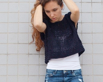 Hand knit woman sweater Tank loose knit coverup cropped Tank Navy pullover crop vest