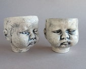 Baby Head Shot Glasses - GRUMPY baby head sake cups