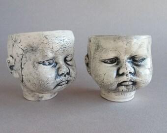 Baby Head Shot Glasses - GRUMPY baby head sake cups