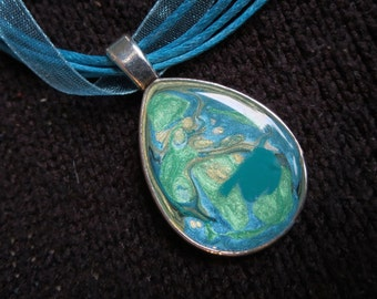 OCEAN FIZZ. Blues. Greens. Turquoise. Pebeo Fantasy Paint Teardrop Domed Resin Pendant Necklace