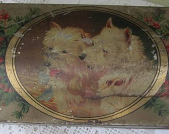 Wee Westies - Vintage West Highland White Dogs with Pink Heather Tin - Biscuits