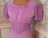 GBYE SUMMER SALE 30s Long Purple Silk Dress Ren Faire Costume S