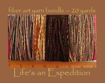 Novelty yarn bundle 20 yards, chocolate brown gold purple tan beige red blue fiber art cotton variety pack novelty autumn art yarn i610B