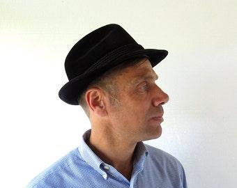 Vintage Black Fedora | 70s Hat | P&C Habig | Alpine Hat | Size 7