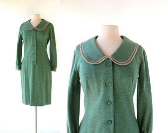 Vintage 1960s Dress | Peter Pan Collar Dress | Fern Green | Knit Dress | Medium M