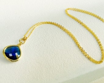 Navy Blue - Tear Drop - Crystal Glass Gold Long Necklace
