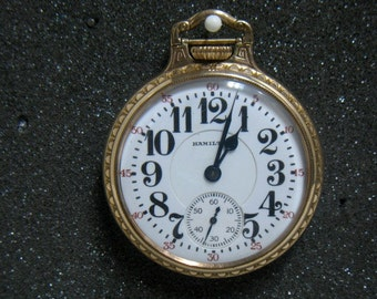Antique Hamilton Railroad Pocket Watch Bridge Over Post 21 Jewel 10K GF 1920s