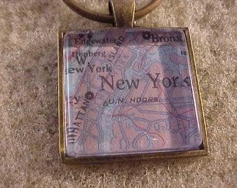 Atlas Map Key Chain / New York Key Chain / Map Keychain / New York Key Ring