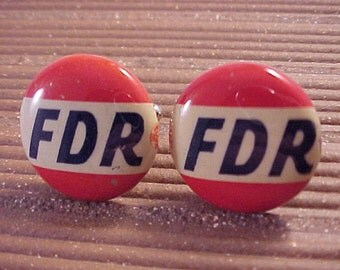 FDR Cuff Links Franklin Roosevelt Campaign Button