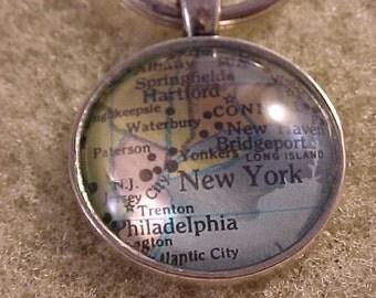 Atlas Map Key Chain / New York Key Chain / Map Keychain