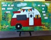 Vintage Camper Dream Life Mixed Media Painting
