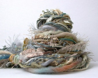 dust storm fringe effects™  21yds specialty art yarns fiber bundle . slate blue gray silver cream taupe . ribbons sequins pearls