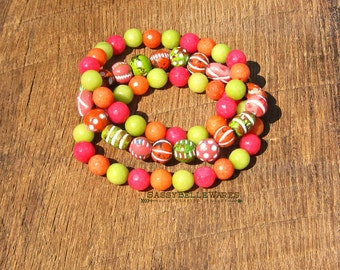 Orange Pink Green Mod Bracelet Stack bright vibrant retro 1960 colors tangerine strawberry lime stacking stackable festival ready style