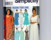 Plus Size Dress with optional Lace Overlay Sewing Pattern Simplicity 9517 Size 26W 28W 30W 32W Empire Waist, Princess Seam Bodice