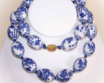 Stunning Necklace of L-A-R-G-E Chinese Blue Porcelain Beads