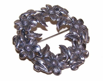 "C.1940 DANECRAFT Sterling Silver ""Wreath of Florals"" Pin/Brooch"