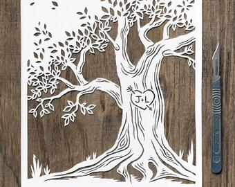 Papercut Anniversary Tree Artwork- Custom