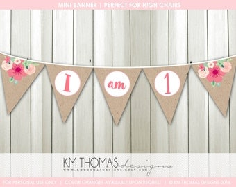 Highchair Banner - Printable Banner - Custom Mini Banner - 1st Birthday Banner - Floral Banner - Pink Flowers BD196