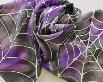 Hand Painted Silk Scarf - Handpainted Scarves Spider Web Spiderwebs Black Purple Grape White Gray Grey Silver Halloween Goth