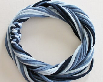 T Shirt Scarf - Infinity Circle Scarves Recycled Cotton - Light Blue Denim Navy Powder Slate Casual Necklace