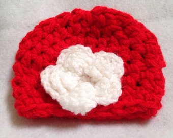 Ready to ship red and white Hat, childs Beanie, red hat with white flower, small/medium size childs hat