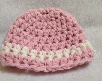 Ready to ship pink and white Hat, doll Beanie, large size doll hat, premie baby hat