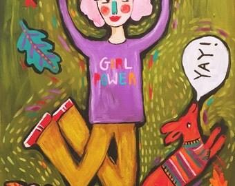 Folk Art Potrait Girl Power