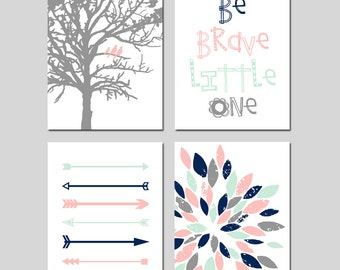 TRIBAL Arrows Baby GIRL Nursery Art Pink Mint Navy - Birds in a Tree, Be Brave Little One Quote, Abstract Floral - Set of 4 Prints