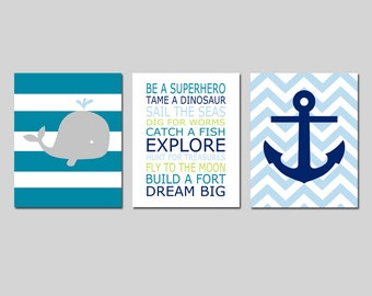Whales n Waves Nursery Decor Nautical Nursery Art Baby Boy Nautical Nursery - Stripe Whale, PLAYROOM RULES Quote, Chevron Anchor - Set of 3