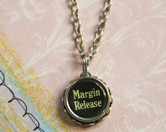 Vintage TYPEWRITER KEY Necklace- Margin Release- Industrial Black Type- Typewriter Key Jewelry