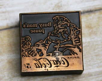 Vintage COCA-COLA Printing Block- Coke Collectible- Wooden Copper Print Block-