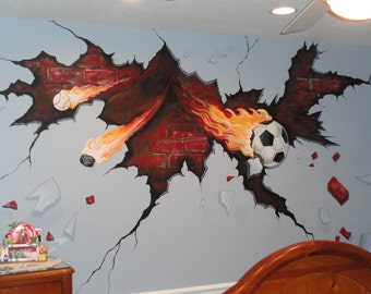 Estimate For Sports Room Mural, Sports Wall Art, Soccer Art, Pittsburgh  Muralist,
