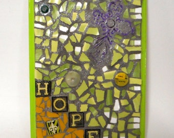 Purple Cross HOPE Fleur De Lis Lime Green Yellow Mixed Media Assemblage Folk Art Wall Decor Plaque