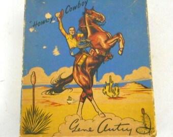Vintage Gene Autry Cowboy Boots Box Kids Shoes Horse Western Ranch Barn Decor
