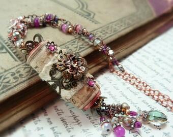 Pink Chablis wine cork estate necklace - vintage style victorian necklace