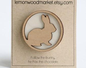 Easter bunny hair clip - White wood bunny hair clip