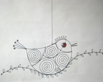 Wire Animal Sculpture / Red - Eyed Wire Bird On A Wire Twig / Wall Art Or Window Art