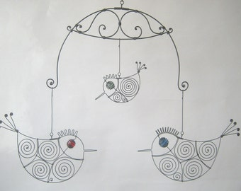 Wire Mobile Sculpture With Three Birds