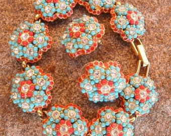 Vintage JOAN RIVERS Beaded Bracelet and Earrings Set