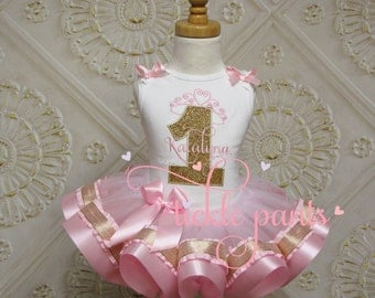 Princess Crown and Name Tutu Outfit - Baby girls 1st birthday - Pink gold sparkle - Includes top and ruffled tutu - Can be customized