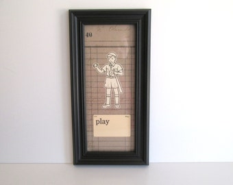 Vintage Framed Flash Cards Play Baseball Black Frame Home Decor Boys Bedroom Decor