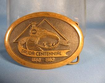 SALIDA COLORADO CENTENNIAL, Commemorative Bronze Belt Buckle, 100 Anniversary of Salida California Bronze belt Buckle,Western Style Buckle
