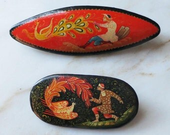 Firebird Fairytale - Vintage Russian Lacquer Brooches - Handpainted Folk Art Pins