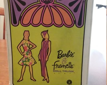 NEW price! Vintage Barbie and Francie doll trunk, circa 1966
