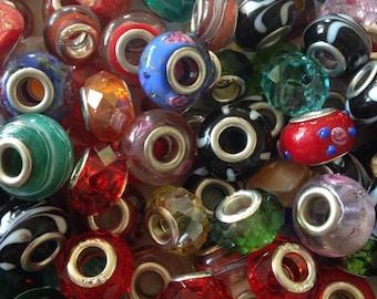 4 Large Hole European Glass Beads similar to Pandora and Murano beads for bracelets