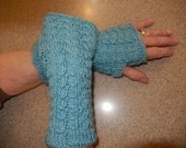 "8"" Blue Fingerless Gloves/Gauntlets"