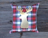 Gold Deer Pillow, Christmas Decor, Metallic Pillow, Holiday Decor, Lodge Decor, Rustic Cabin Decorative Pillow, Gifts Under 30, Plaid Pillow