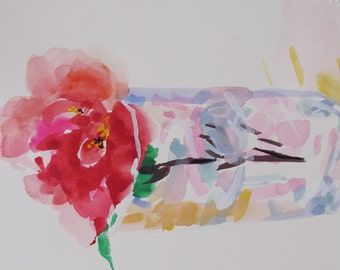 Red Camellia I...red watercolor transparency gouache floral contemporary abstract